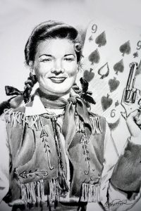Detail of drawing of Gail Davis as Annie Oakley by Betty Harper
