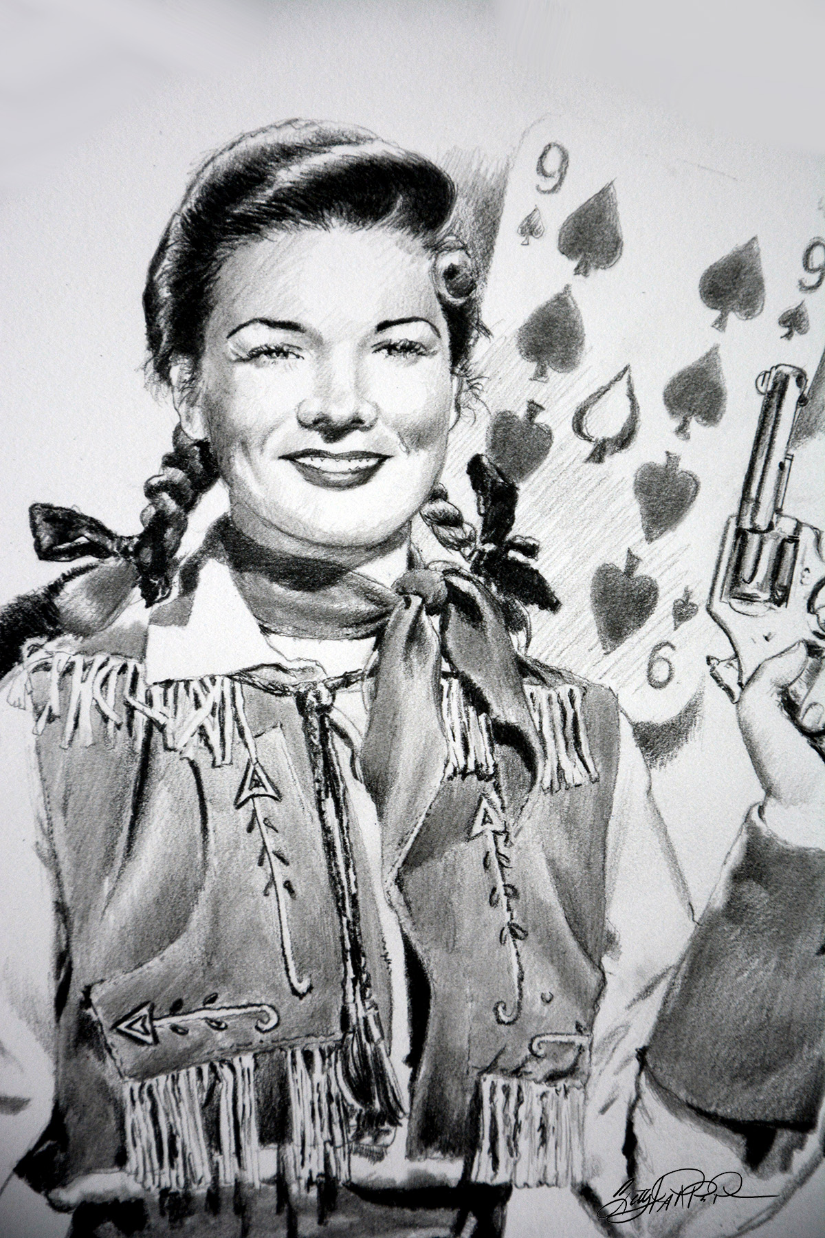 Detail of drawing of Annie Oakley by Betty Harper