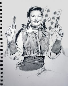 Drawing of Gail Davis as Annie Oakley by Betty Harper