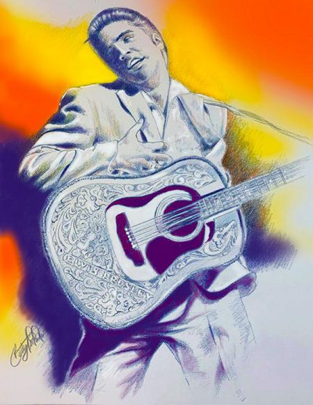 Betty Harper Art Elvis with Guitar
