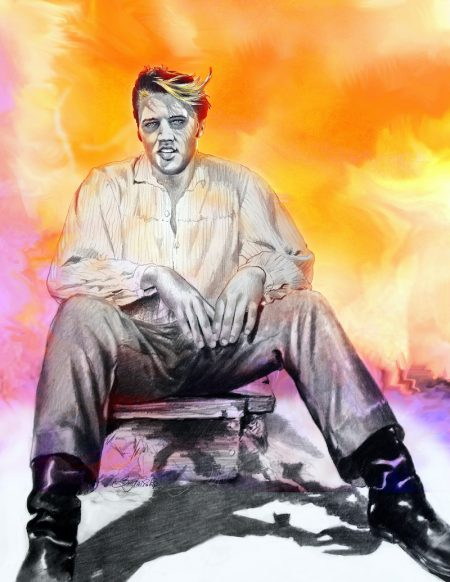 Title Yesterday - color art of Elvis by Betty Harper